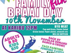 Family Fun Day Booking – 10 November 2018, Karibu in Umhlali