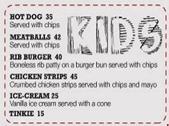 Kids Menu Upperdeck Restaurant